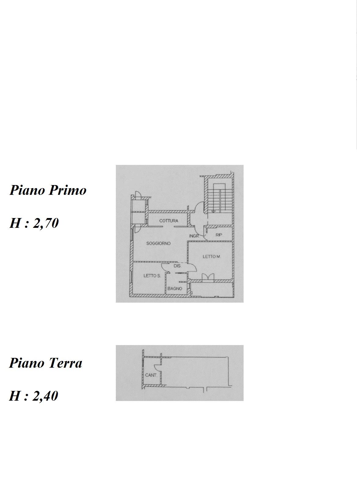 Planimetria piano secondo e cantina al piano terra