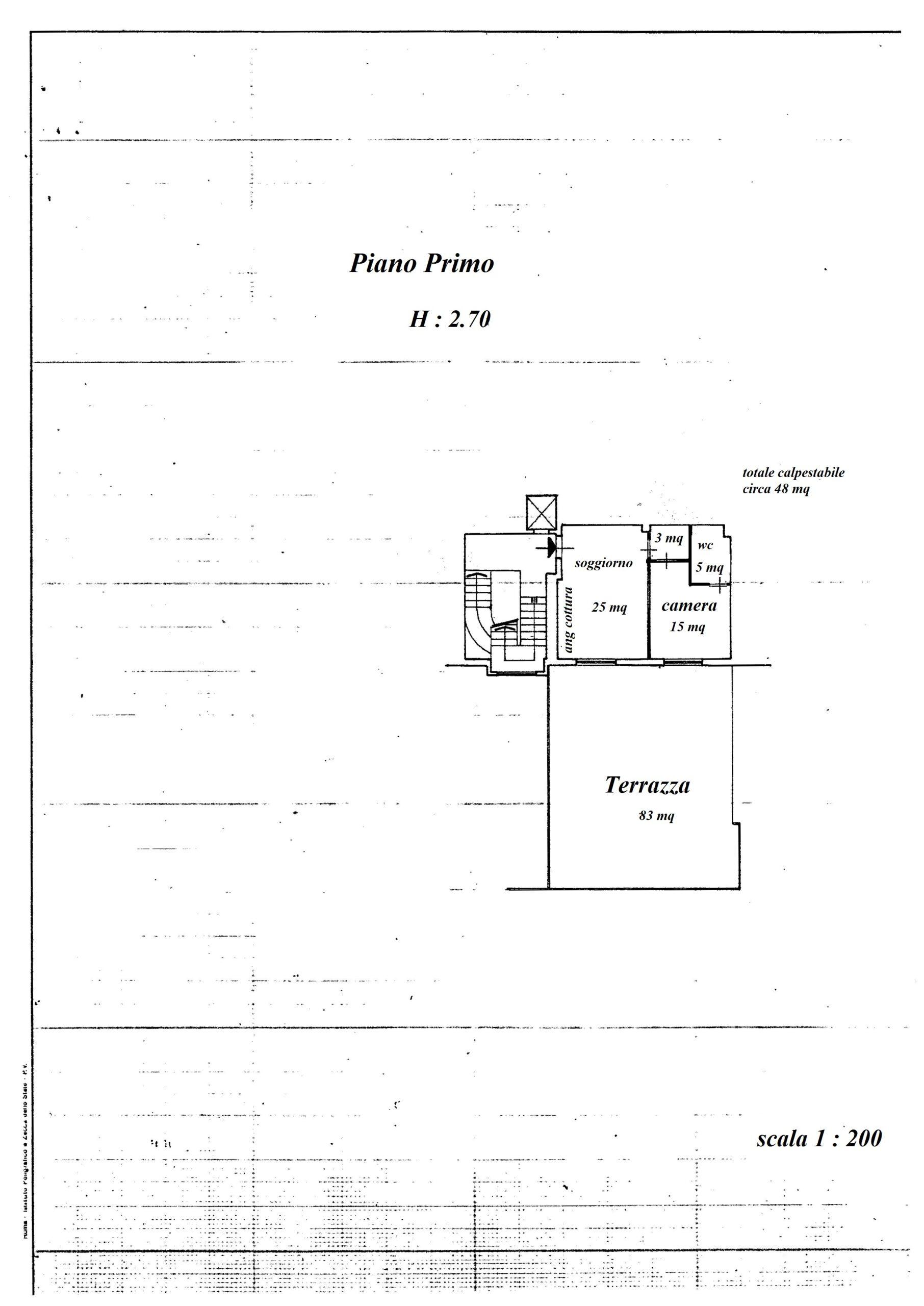 Planimetria appartamento con ipotesi di cambio d'uso in abitativo